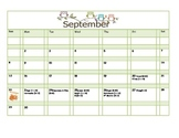 School Counseling September Lesson Plan Calendar