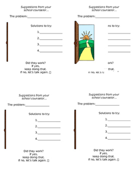 School Counseling Solution sheet