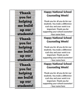 School Counseling Week Thank You