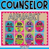 School Counseling themed Alphabet Line posters, office decor