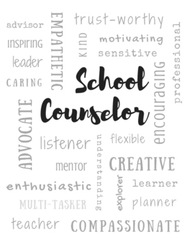 School Counselor Adjectives | Subway Poster Printable Sign | Black & White