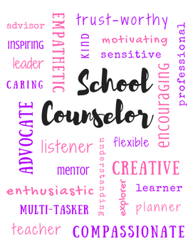 School Counselor Adjectives | Subway Poster Printable Sign | Pink & Purple
