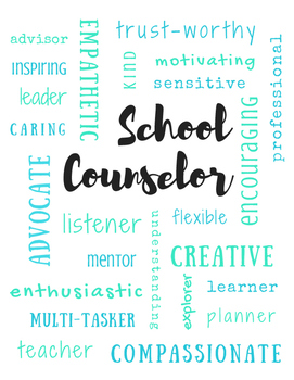 School Counselor Adjectives | Subway Poster Printable Sign | Teal & Green