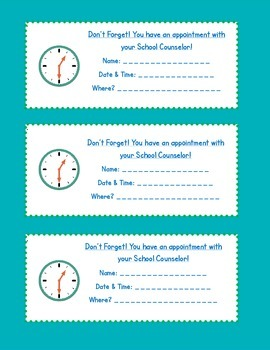 school counselor appointment cards by cheerful counseling tpt