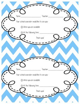 School Counselor Appointment Cards
