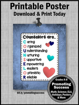 Definition of a School Counselor Sign, Back to School Counseling Office Decor