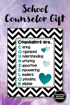 Teal and Black School Counseling Office Decor, Counselor Appreciation Week Gift