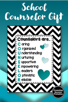 Teal Black Chevron School Counselor Sign, Appreciation Gift, Counseling Office