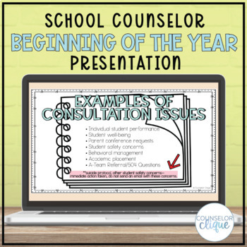 School Counselor Beginning of the Year Presentation
