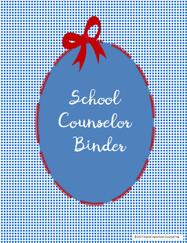 School Counselor Binder Cover and Dividers Blue