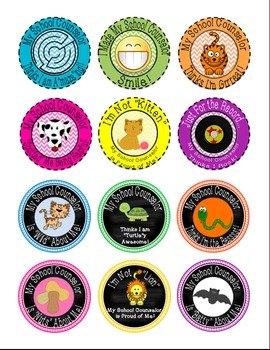 School Counselor Brag Tag Buttons Set 2