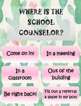School Counselor Cactus Posters