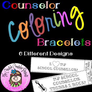 School Counselor Coloring Bracelets or Bookmarks
