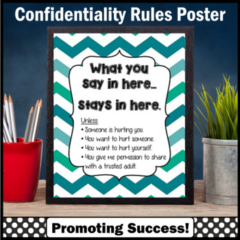 School Counseling Confidentiality Rules Poster Gift Psychology Social Work