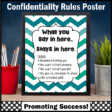 Teal Chevron School Counselor Confidentiality Sign, School Social Worker