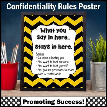 School Counselor Confidentiality Sign Black and Gold Counseling Office Decor
