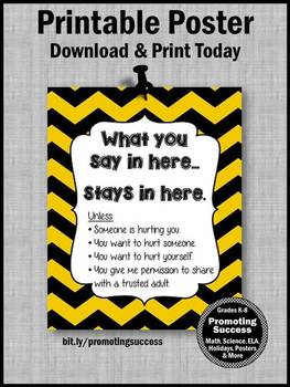 Yellow and Black School Counselor Confidentiality Sign Large 8x10 16x20