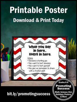 Red Chevron School Counselor Confidentiality Rules Sign Size 8x10 or 16x20