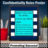 School Counselor Confidentiality Sign Navy & Aqua Office Decor 8x10 16x20