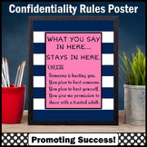 School Counselor Confidentiality Sign Navy & Pink Office Decor 8x10 16x20