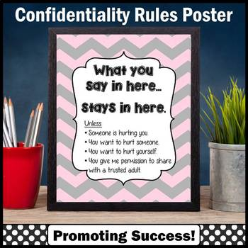Pink & Gray Theme School Counselor Confidentiality Sign Size 8x10 16x20