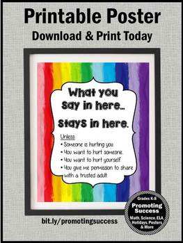 School Counselor Confidentiality Sign, RAINBOW Confidentiality Rules Poster