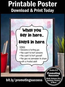 Watercolor Theme School Counselor Confidentiality Sign Large 8x10 or 16x20