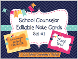 School Counselor Editable Note Cards: Set #1