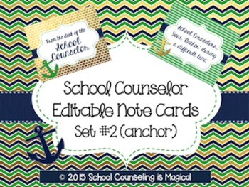 School Counselor Editable Note Cards: Set#2
