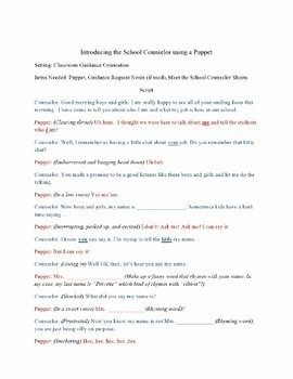 School Counselor Introduction Guidance Orientation with a Puppet Script