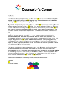 Counselor Introduction Letter To Parents Worksheets ...