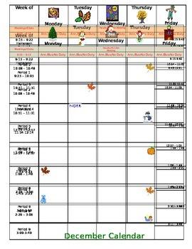 School Counselor Monthly Calendar