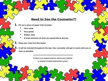 "School Counselor ""Need Help?"" Locker Signs (Editable)"