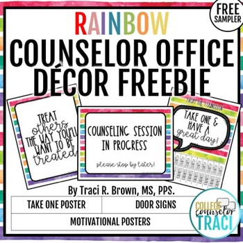 School Counselor Office Decor Freebie (Rainbow)