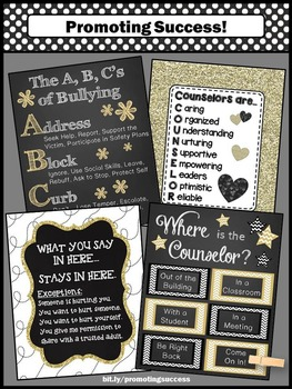 Where is the School Counselor Door Sign, Counselor Confidentiality Posters GOLD