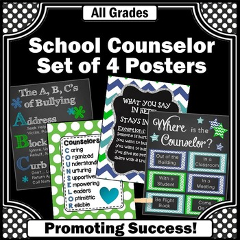 School Counselor Office Door Posters in Turquoise Blue & Green
