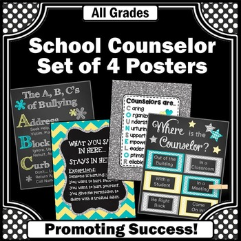 School Counselor Office Door Posters in Turquoise Yellow and Gray