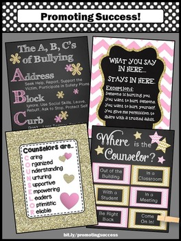 Pink and Gold Where is the School Counselor Signs, Confidentiality NOT EDITABLE