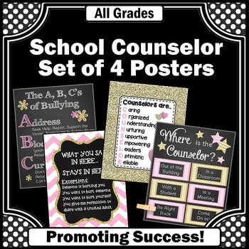 School Counselor Office Decor Set of 4 Pink and Gold Couns
