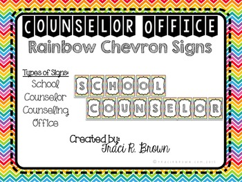 School Counselor Office Rainbow Chevron Signs