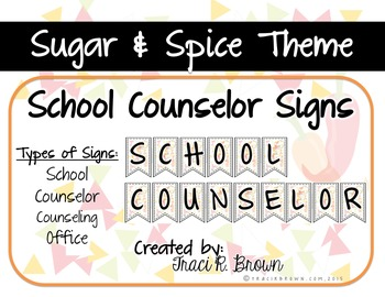 School Counselor Office Sugar & Spice Theme Signs