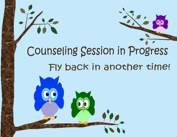 School Counselor Owl Sign Collection
