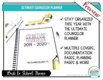 School Counselor Planner 2019 - 2020 (Back to School Theme)