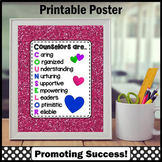 School Counselor Poster Appreciation Gift, Hot Pink Counseling Office Decor Sign