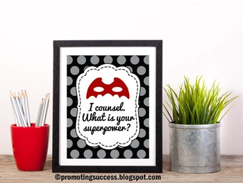 I Counsel. What is your Superpower? Red and Black School Counselor Poster