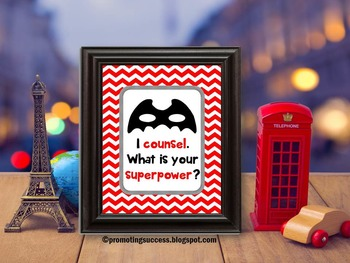 School Counselor Poster, Black and Red Chevron, School Counseling Office Decor