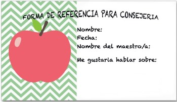 School Counselor Self-referral form in Spanish