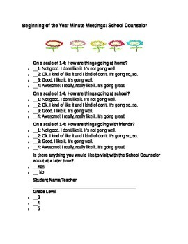 School Counselor Short Student Meeting Form