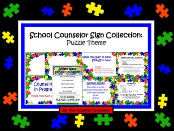School Counselor Sign Collection: Puzzle Theme (editable!)