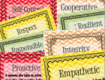 School Counselor Signs: 8 Words to create a Character Vocabulary Wall
